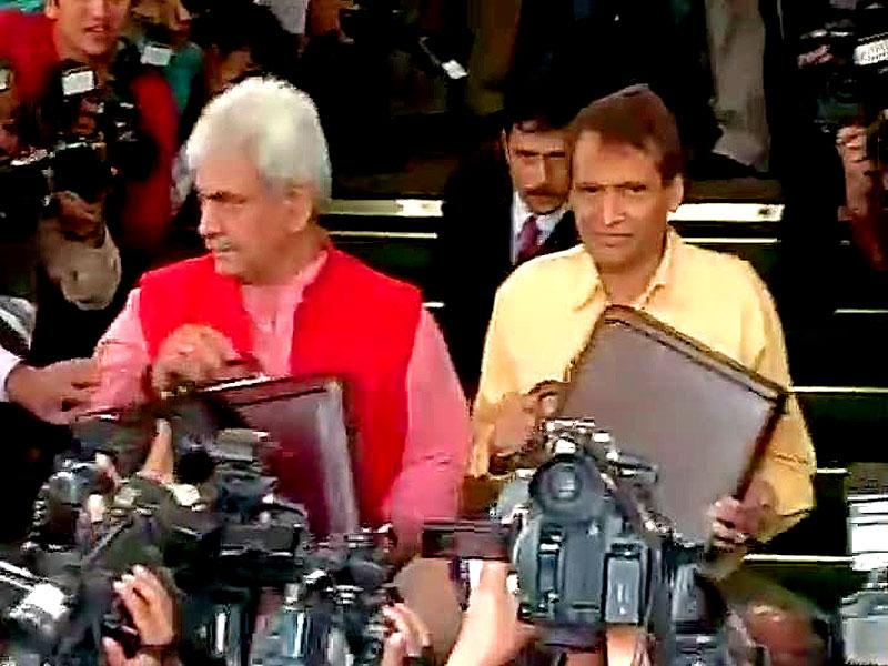 Railway minister Suresh Prabhu at Parliament to before presentation of Rail Budget 2015-16, in New Delhi. (Agency)
