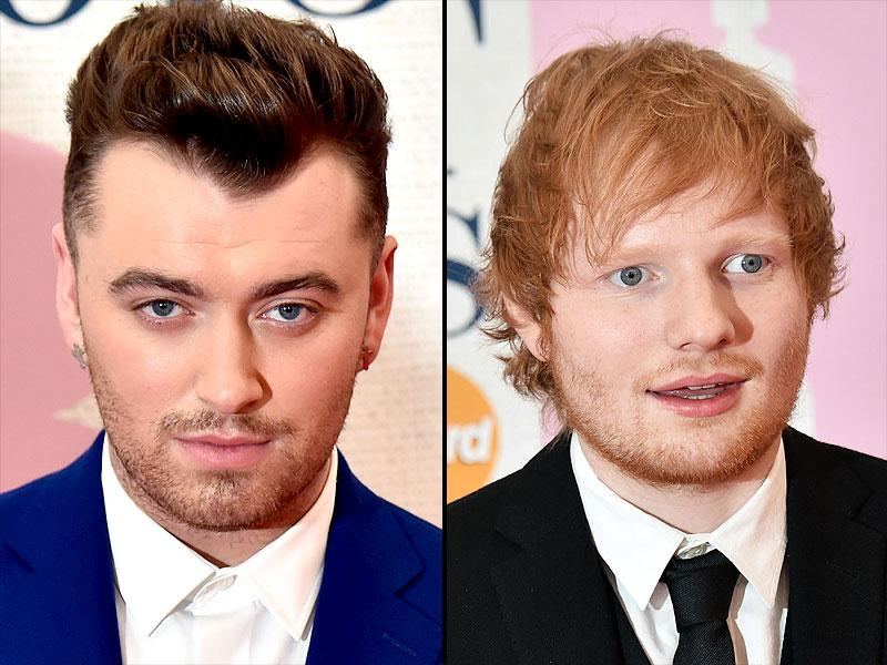 British singers Sam Smith and Ed Sheeran poses on the red carpet at the BRIT Awards 2015. (AFP)