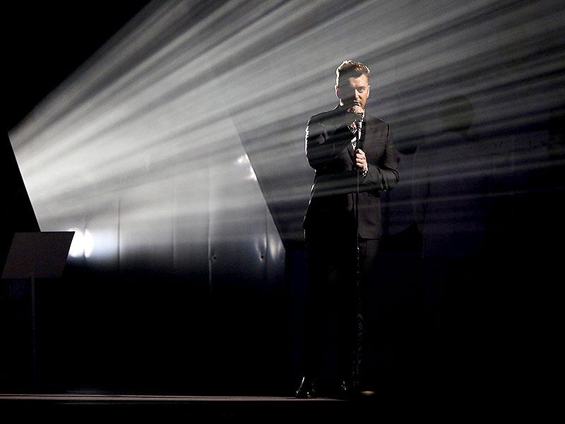 Sam Smith performs at the Brit Awards 2015 at the 02 Arena in London. (AP)