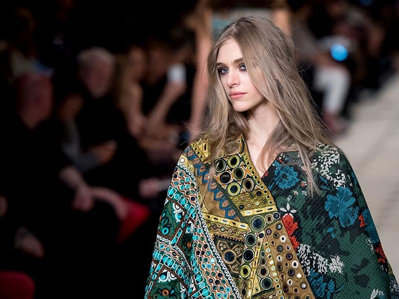 Burberry Prorsum: Earthy eyes were on show at Burberry Prorsum, where soft eggplant shades and a warm foundation base kept the look romantic and relaxed.