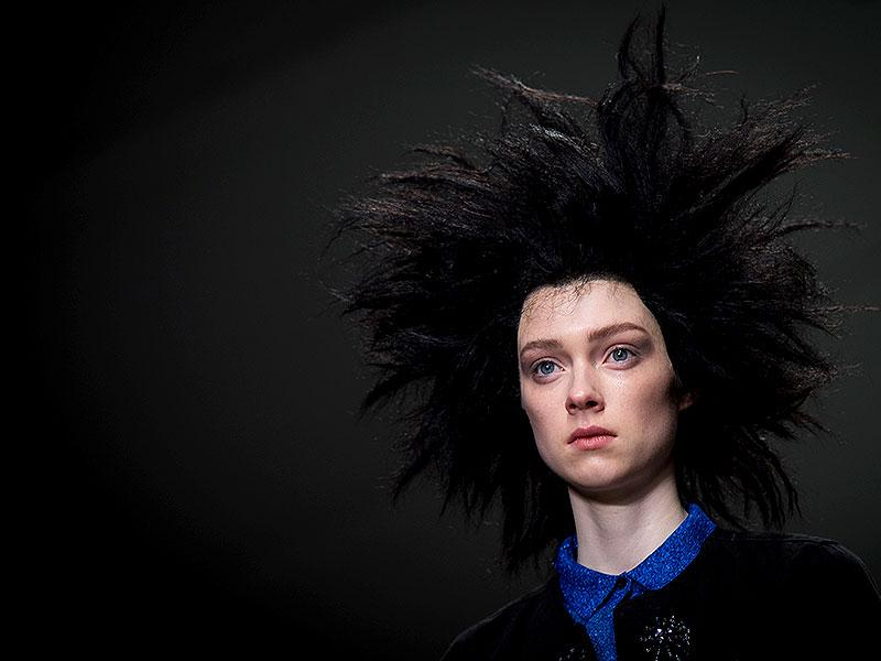 Sibling: Bold wigs brought morning-after hair to mind at Sibling, where make-up was kept natural, with strong brows, matte eye shadow and bee-stung lips.