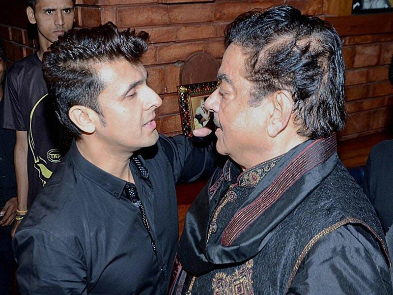 Shatrughan Sinha and singer Sonu Nigam at the success party of the later's album The Music Room. (PTI Photo)