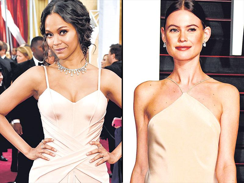 Fifty shades of champagne are a hit with the style conscious. Zoe Saldana's blush toned Versace (L) and Behati Prinsloo's Calvin Klein (R) are perfect examples.