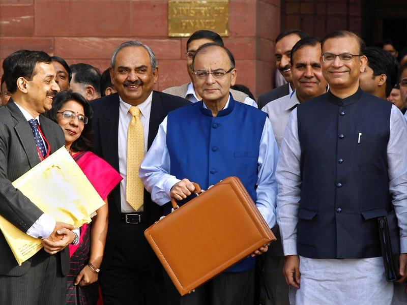 Finance minister Arun Jaitley leaves his office to present the Union budget 2015-16 in New Delhi. (Reuters)