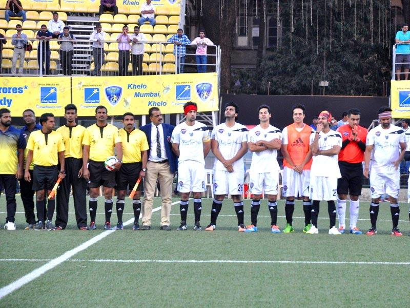 Ranbir Kapoor, Arjun Kapoor and Dino Morea during all stars football match in Mumbai on Feb 26, 2015. (Photo: IANS)