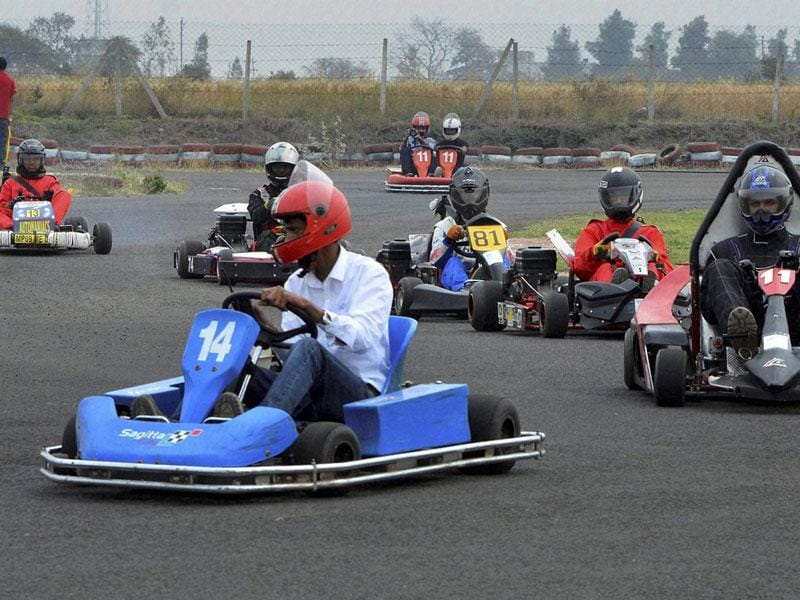 Riders participate in National Elite Kart racing at RMP Go Kart racing circuit in Bhopal on Saturday. (PTI photo)