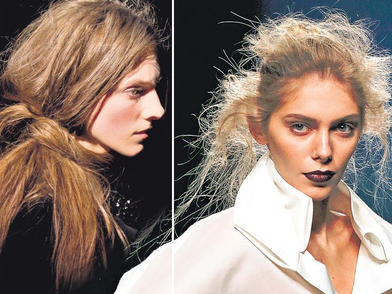 Models in messy updos at Simone Rocha's London presentation (L) and Ulises Merida's show at fashion week in Madrid (R).