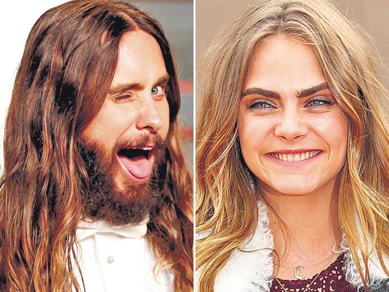 Jared Leto (L) went fearlessly unkempt at the Oscars, Cara Delevingne is tousle perfect at London Fashion Week (R).