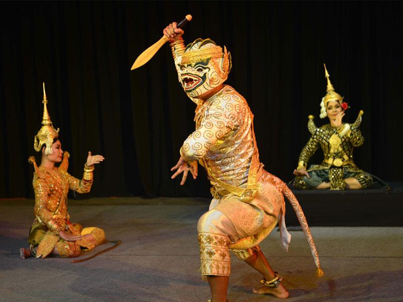 Artistes of Remake Performing Art Troupe from Cambodia perform during International Ramayana Mela at Bharat Bhawan in Bhopal. (Mujeeb Faruqui/HT photo)