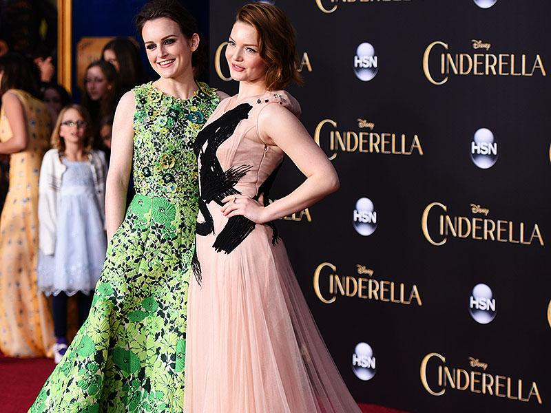 Sophie McShera, left, and Holliday Grainger arrive at the premiere in Los Angeles. (AP)