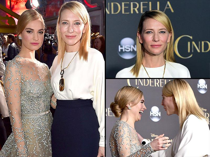 Cate Blanchett, who plays the role of the 'evil stepmother', poses with Cinderella aka Lily James. (AFP)