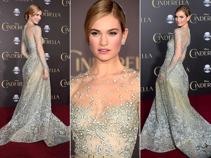 Even if Lily James can't believe she's a princess, we do. And we love that tulle Elie Saab dress. (AFP)