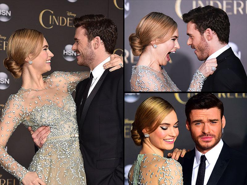 Lily James, who plays Cinderella and Richard Madden, who plays the Prince at the world premiere of Cinderella. (AFP)
