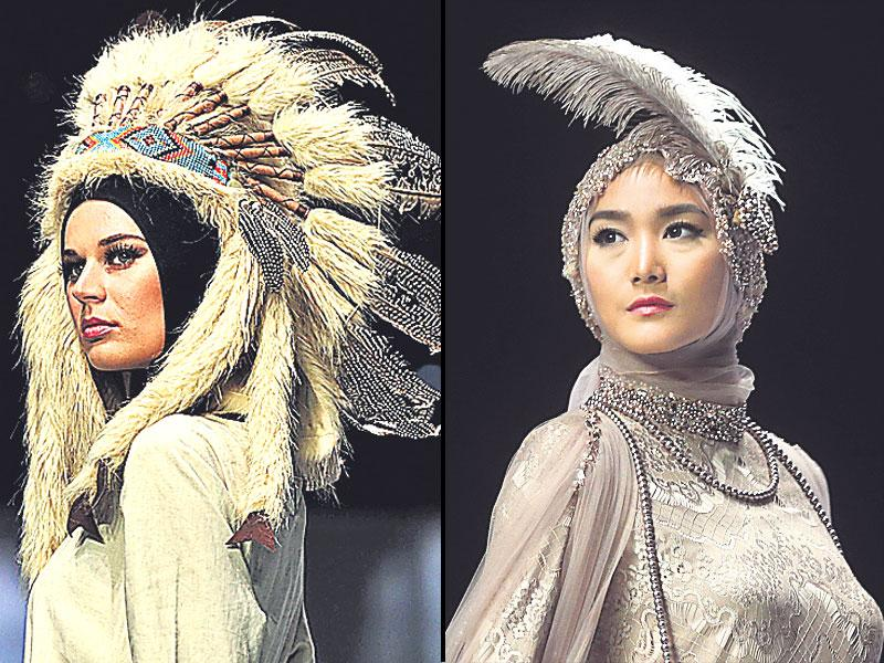 Feathered headgears by designer Jenahara (left) and the Aira ­collection in Jakarta, Indonesia (right).