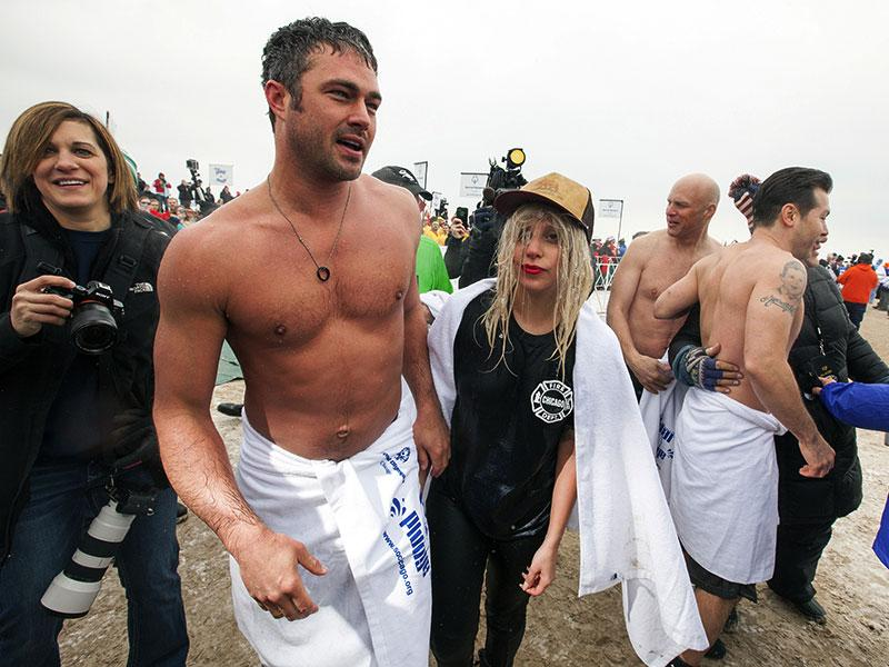 Singer Lady Gaga takes part in the Chicago Polar Plunge at Lake Michigan in Chicago, Illinois. (Reuters)