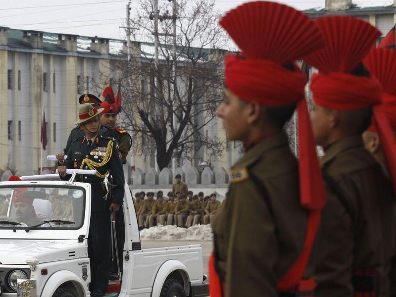The 179 recruits from Jammu and Kashmir were formally inducted into the Indian Army's JKLIR after training. Waseem Andrabi/HT