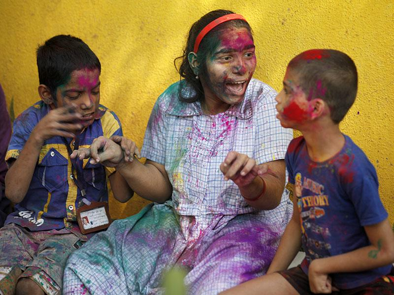 Disabled children celebrated Holi, the festival of colours at the Society for the Education of the Crippled in Agripada, Mumbai. (Vijayanand Gupta/HT photo)