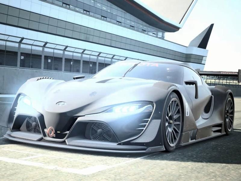 Toyota FT-1 Vision Gran Turismo Concept : Toyota's entry into the racing series is based on its already stunning FT-1 concept, which lit up a number of US motor shows in 2014 but has been made even more hard-core thanks to an even more aggressive body kit, inlets and a wing for downforce. Photo:AFP