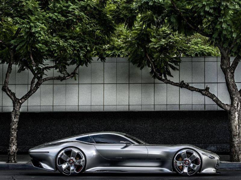 Mercedes-Benz AMG Vision Gran Turismo : Mercedes has built a real-life, scale 1:1 version of this retro-futuristic 585hp, super-light-weight car, complete with heads-up display and gullwing doors. Photo:AFP