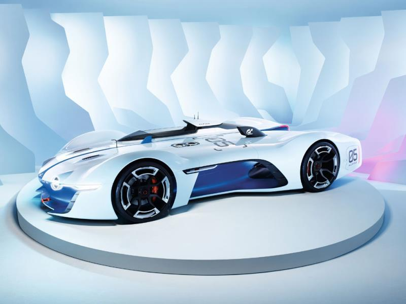 The Alpine Vision Gran Turismo : Alpine used its invitation to tease long-suffering fans as to what may await them when the company finally gets back to building real-world sportscars. This one boasts a virtual V8 engine and a 320km/h top speed. Photo:AFP