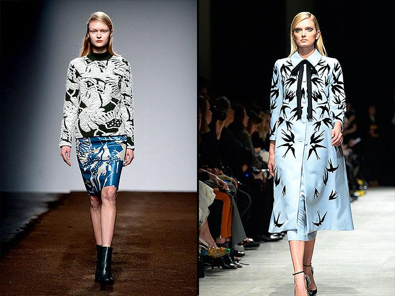 L: Christian Wijnants pushes graphic print knitwear to the max with ultra wearable mix-and-match statement separates.R: Hitchcock would have approved of the bird print revival at Rochas where beaded swallow prints stole the show.