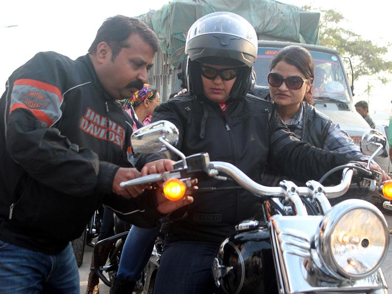 A rider gets set to take part in a bike rally organised by Harley Davidson group to mark Women's Day, in Indore. (Shankar Mourya/HT photo)