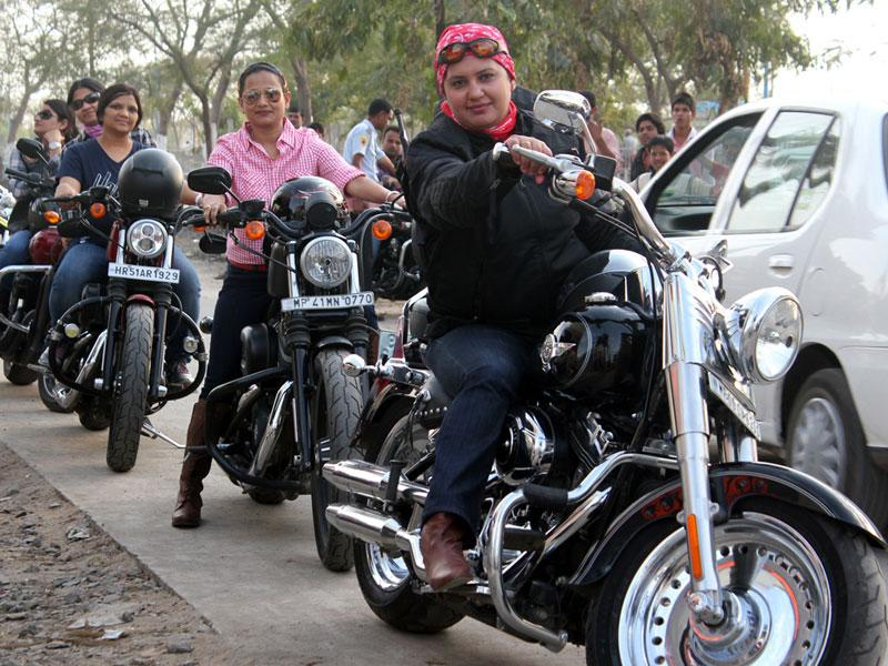 Women riders take part in a rally organised by Harley Davidson group to mark International Women's Day, in Indore on Sunday. (Shankar Mourya/HT photo)