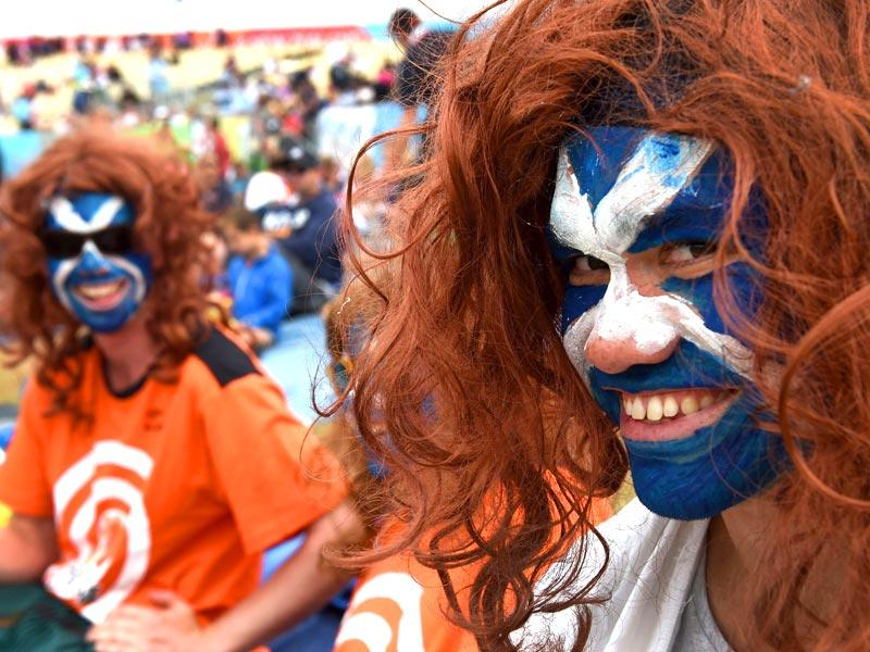 Scotland fans cheer on their team during the 2015 Cricket World Cup Group A match between England and Scotland in Christchurch. (AFP Photo)
