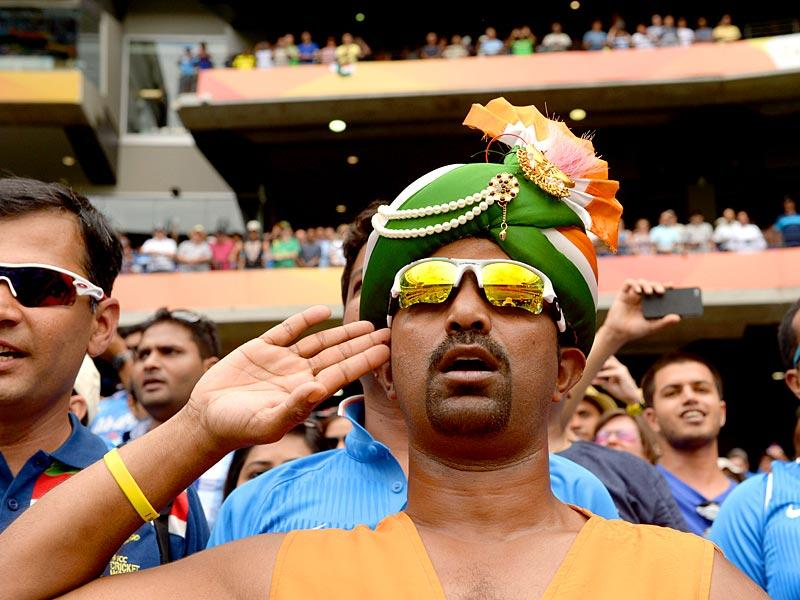 Indian fans during the 2015 World Cup match between South Africa and India in Melbourne on February 22. (AFP Photo)?