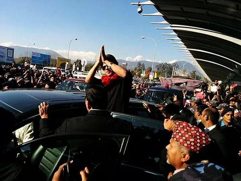 Shah Rukh Khan greets fans in Nepal.