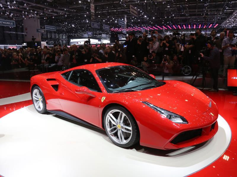 Ferrari 488 GTB : The Italian manufacturer unveiled its latest supercar coupe, the 488 GTB, powered by a turbocharged V8 for a top speed of over 330km/h. To be sold for €220,000 (around $241,300), the model goes from 0 to 100km/h in 3 seconds and from 0 to 200km/h in just 8.3 seconds. Photo:AFP