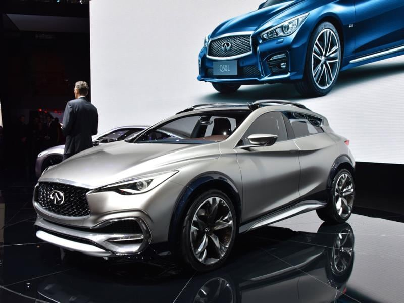 The Infiniti QX30 Concept : This infinitely smaller than normal Infiniti is the clearest sign yet that luxury carmakers are moving their focus to the small crossover segment. The QX3à shows that Infiniti's design language does transfer easily on to a smaller vehicle and the level of fit, finish and trim suggests that this car is ready to go into production. Photo:AFP