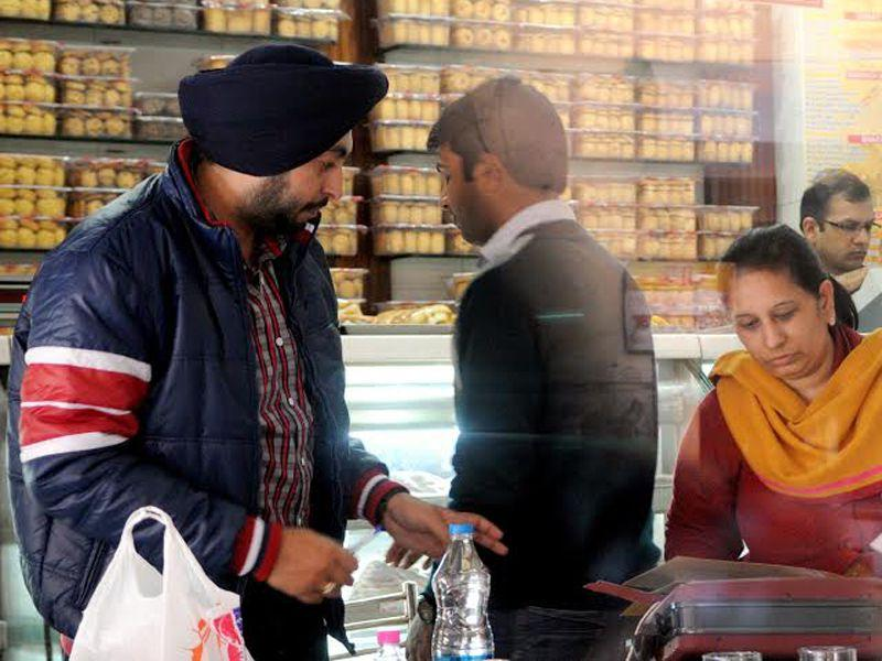 Income tax officer's conduct a surprise checking at various sweet shops across city in Patiala.HT/Photo