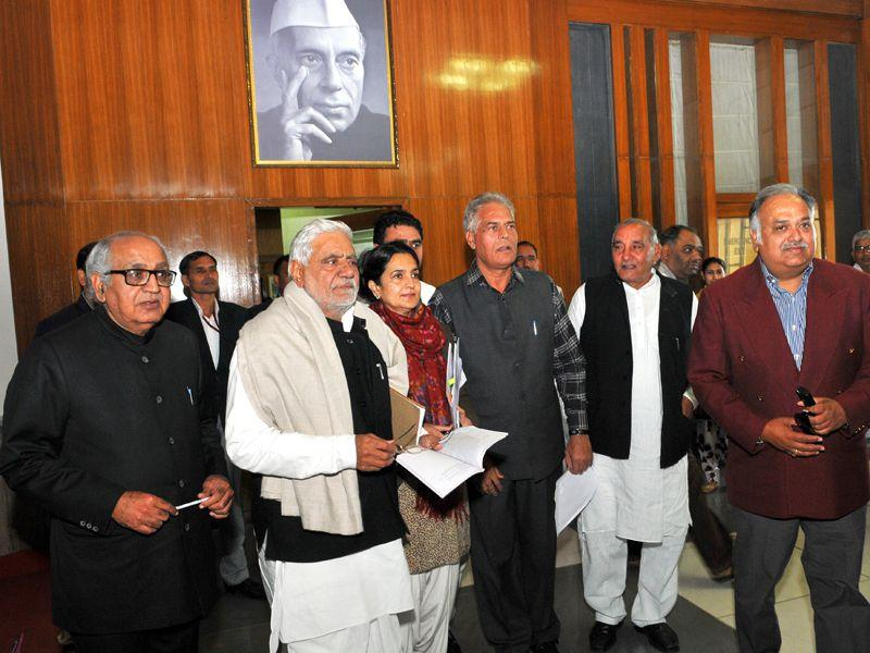 Haryana Congress MLAs walkout during the Haryana assembly budget session at Haryana Vidhan Sabha.Keshav Singh/HT