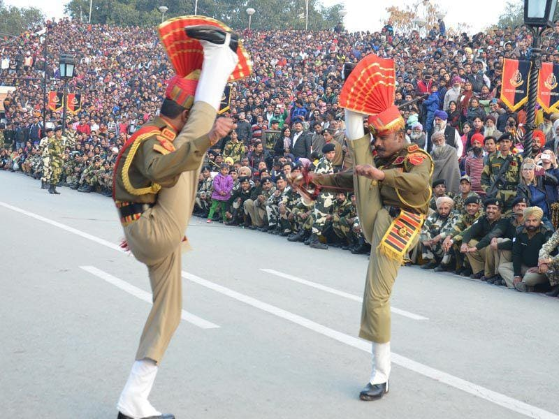 BSF Jawans perform during beating the retreat ceremony at Attari-Wagah joint check post  in Amritsar.Sameer Sehgal/ HT