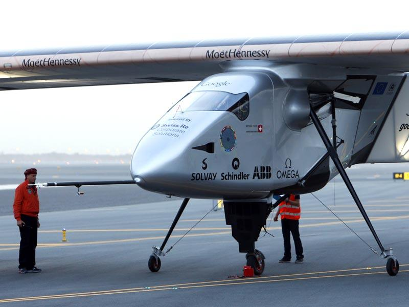 Solar Impulse 2 before taking off from Muscat airport. (AFP Photo)