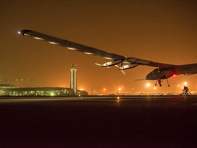 Solar Impulse 2 lands in Muscat, Oman. (AP Photo)