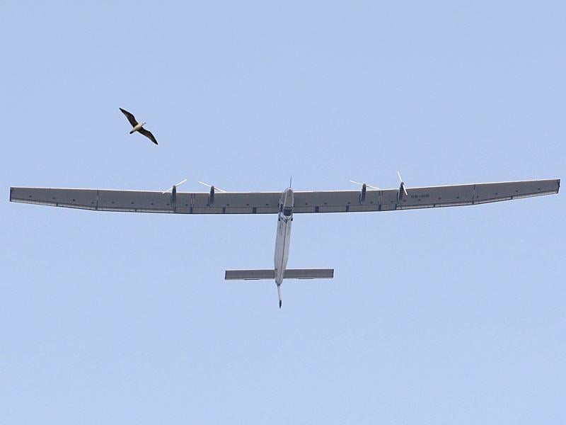 The solar-powered plane Solar Impulse 2 takes off from Muscat airport in Oman, as it heads to Ahmedabad in India on the second leg of its epic bid to become the first plane to fly around the world powered solely by the sun. (AFP Photo)