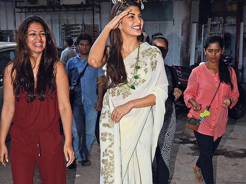My headgear, isn't it cool? Jacqueline Fernandez seems to be asking! (Photos: Viral Bhayani)