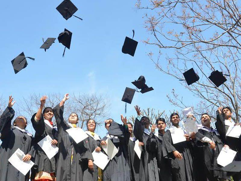 Students Jubilate mood after receiving degree.HT/photo