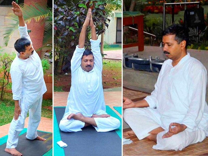 Delhi chief minister Arvind Kejriwal, undergoing naturopathy treatment in Bengaluru, is also practising yogic as part of his routine. (PTI Photo)