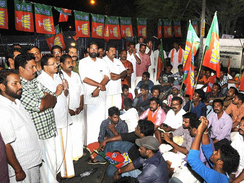 BJP workers during a protest outside Kerala assembly in Thiruvananthapuram on Thursday. (PTI Photo)
