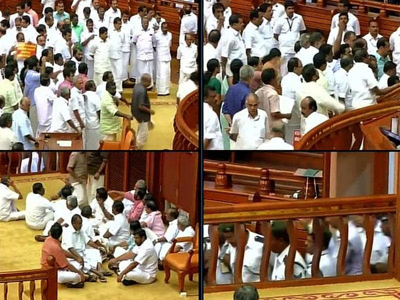 Scenes from the uproar in Kerala Assembly. (ANI Photo)