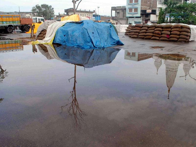 Food grain bags kept in a waterlogged yard in Ujjain on Friday. Heavy showers hit Ujjain on the intervening night of Thursday and Friday. (HT photo)