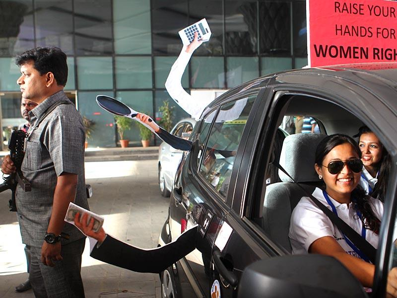 Hindustan Times' women's car rally at Sahara Hotel in Mumbai on International Women's Day. (Satish Bate/HT photo)