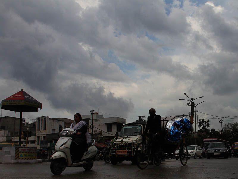 Black clouds hover over Ludhiana on Monday. JS Grewal/HT