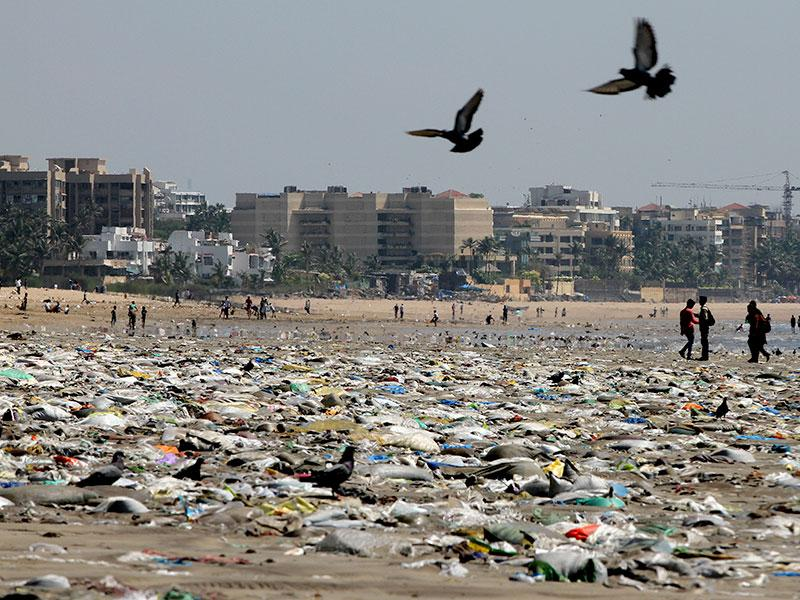 Garbage covers most of the area at the Versova Beach in Mumbai. (Arijit Sen/HT photo)