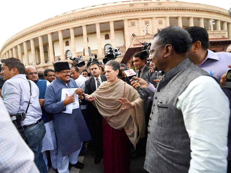 Congress chief Sonia Gandhi and other opposition leaders during a march from Parliament to Rashtrapati Bhavan in New Delhi. PTI Photo by Subhav Shukla