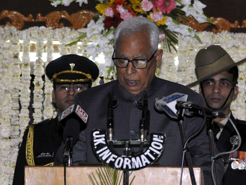 J-K Governor N N Vohra addressing on the first day of budget session of state legislator assembly in Jammu. Nitin Kanotra/HT