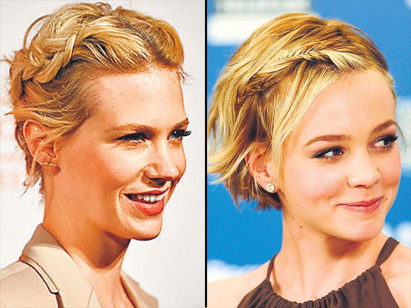 January Jones and Carey Mulligan's sneaky braids: From a full-blown crown braid to get the playful Heidi look to stylish, messy braid that simply breaks the monotony of a short crop left loose, take your pick. Keep a handful of bobby pins and hair spray ready to fix your look.